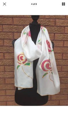 Pink Rose Hand Painted Silk Scarf by Julie Riisnaes Hand Painted Sarees, Hand Painted Fabric, Painted Silk, Fabric Painting, Fabric Art, Paint Fabric, Fabric Paint Designs, Silk Art, Designer Scarves