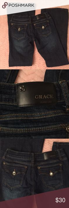 NWOT Grace in LA Jeans Super cute, like new! No rips/stains! Size 5/26 Grace Jeans Flare & Wide Leg