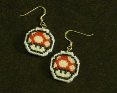 Mario Mushroom Cross Stitch Earrings. $35.00, via Etsy.