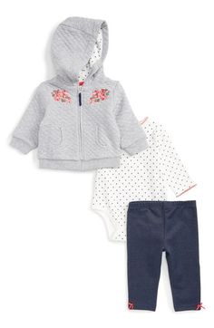 Little Me Flower Swag Quilted Hoodie, Bodysuit & Leggings Set (Baby Girls) at Nordstrom.com. Bright floral embroidery adds irresistible charm to a quilted hoodie, paired perfectly with a dotted bodysuit and comfy denim-look leggings.