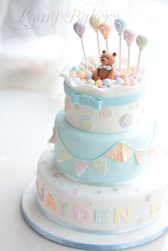 Baby Shower or Birthday Cake  Bears Bunting Balloons