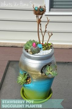 Whats Ur Home Story: strawberry pot succulent planter, mother's day gift