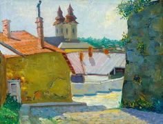 Fényes, Adolf (1867-1945)  -  Sunlit small town Small Towns, Paintings, Artists, Paint, Painting Art, Draw, Painting, Portrait, Resim