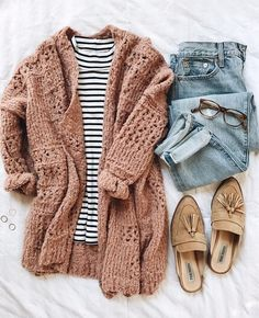 black and white stripe sweater with a blush cardigan and jeans with brown slip-o - Casual Outfits, Black Women Fashion, Look Fashion, Trendy Fashion, Fashion Outfits, Womens Fashion, Affordable Fashion, Outfits 2016, Dresses 2016, Jeans Fashion