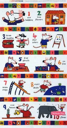 Maisy Mouse Fabric Panel - Maisy Counts