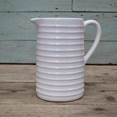 White Ribbed Pouring Jug or Pitcher by Restored2bloved on Etsy