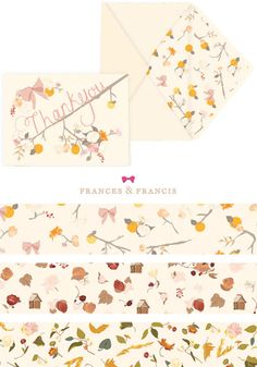 Beautiful Autumnal Thank You Cards found in the brand new etsy shop of Frances & Francis.
