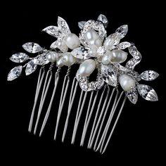 Silver Freshwater Pearl and Rhinestone Wedding Comb