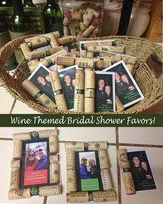 Wine Themed Bridal Shower Favors made with magnetic photo frames and wine corks.