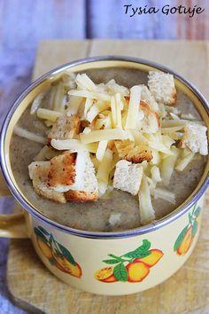 Zupa krem pieczarkowa   Tysia Gotuje blog kulinarny Feta, Dairy, Cheese, Blog, Blogging