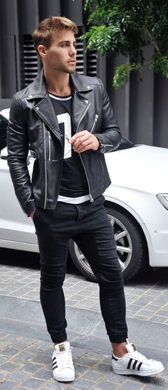 Leather for oomph and pizzazz! Follow rickysturn/mens-casual for the hottest Men's Street Style Trends and Inspirations! http://www.99wtf.net/men/mens-fasion/ideas-choosing-mens-outfit-colors-mens-fas
