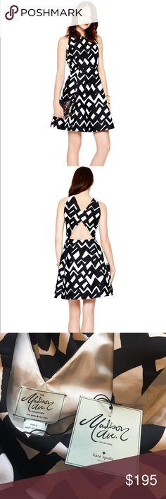 "Kate Spade Madison Avenue Collection dress Chevron Alani dress, NWT size 4. 100% polyester. Zipper side closure. Lined. Waist lying flat is 13.5"" kate spade Dresses"