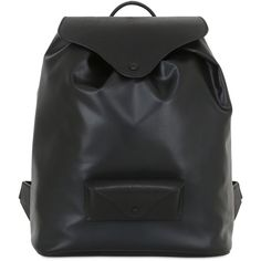 Maison Margiela Men Faux Leather & Leather Backpack ($1,575) ❤ liked on Polyvore featuring men's fashion, men's bags, men's backpacks, black, mens faux leather backpack, mens backpacks and mens leather backpack