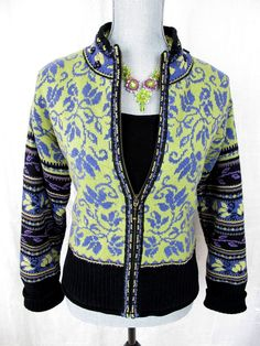Icelandic Design Womens M Sweater Lined Full Zip Top Cardigan Floral Jacket Coat