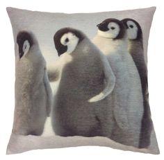 Digital Chenille Penguins 43cm x 43cm Cushion Cover 3D image