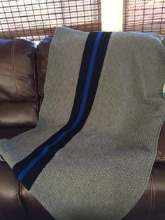 Thin Blue Line Crochet Blanket by straighthookin on Etsy