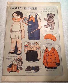 Vintage 1931 Dolly Dingle Paper Dolls by Grace Drayton Garden Suit | eBay