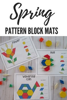 Spring Pattern Block Mats- explore and build with shapes