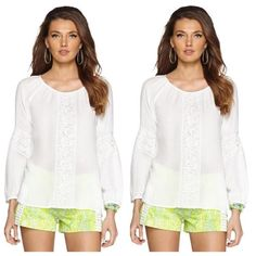 Lilly Pulitzer Resort White Briony Top  This flowy white top features a scoop neck, long sleeves, and crochet accenting.  Condition: NEW with tags! Signs of Love: No signs of previous wear  Size: Extra Small   Measurements:  Total Length: 25.5 in.   Cross Chest: 18.5 in.   Sleeve Length: 24.75 in.   Fabrication: 100% Viscose, exclusive of trim Lilly Pulitzer Tops Tees - Long Sleeve