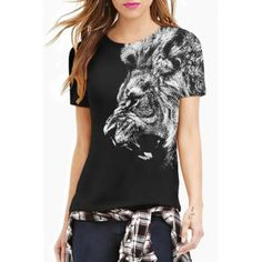 Casual Round Neck Short Sleeve Animal Print T-Shirt For Women (BLACK,XL) in Tees & T-Shirts | DressLily.com
