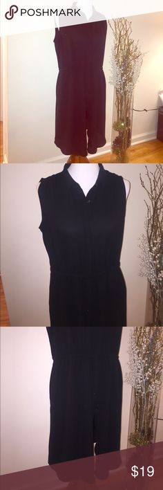 Black button up dress Worn twice. In great condition. Strings allow you to tighten up for a fitted look. Scrunched shoulder look. Super comfy. Mossimo Supply Co Dresses Midi