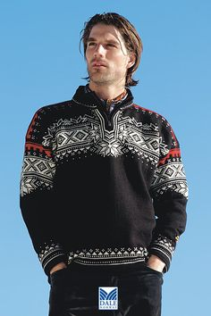 Dale of Norway anniversary sweater in black. So warm, comfortable and stylish :) But for women Fair Isle Knitting Patterns, Sweater Knitting Patterns, Knitting Designs, Nordic Sweater, Men Sweater, Winter Sweaters, Black Sweaters, Farm Clothes, Norwegian Knitting