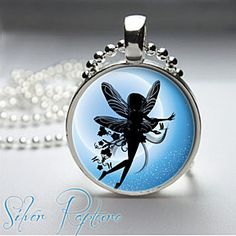Blue midnight Moon Fairy Flying Magical Glass Photo Pendant Silver Necklace Jewelry by ChicBridalBoutique on Opensky