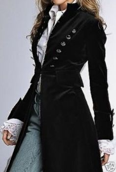 Style: Velvet Coat Love the coat but the shirt cuffs put it over the top. the coat but the shirt cuffs put it over the top. Look Fashion, Autumn Fashion, Womens Fashion, Fashion Black, Trendy Fashion, Dress Fashion, Fashion Design, Fashion Wigs, Fashion Shoes