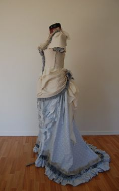 Pale blue, cream and grey tattered Victorian inspired costume dress fits waist 27 to 30 inches. $155.00, via Etsy.