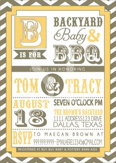 COUPLES bbq BABY SHOWER invitation. $18.00, via Etsy.