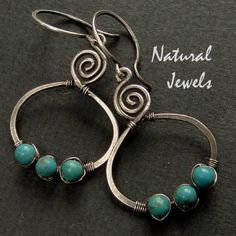 Earrings made of 925 Sterling silver and 3 round beads of Turquoise. The spiral is my favorite symbol and I use it a lot, it respresents Eternity a...