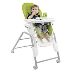 OXO Tot Seedling High Chair: Everything about this quality high chair is easy: it's easy to adjust, clean, move, and even look at, thanks to its modern streamlined design. Wonderfully crafted, with five height positions, three-way recline adjustment, and crevice-free surfaces for quick cleanup. With five-point harness, no-scratch, locking wheels and one-hand removable tray...