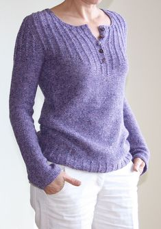 """Ravelry: ducatista's purple - contiguous - """"classic henley shirt, using the brilliant contiguous method, knitting the button band on the go, mini cables, waist shaping. Yarn looks best in reverse stockinette stitch"""" Sweater Knitting Patterns, Knitting Designs, Knit Patterns, Baby Knitting, Knit Sweaters, Tricot D'art, Pullover Outfit, Pull Bebe, Knit Fashion"""