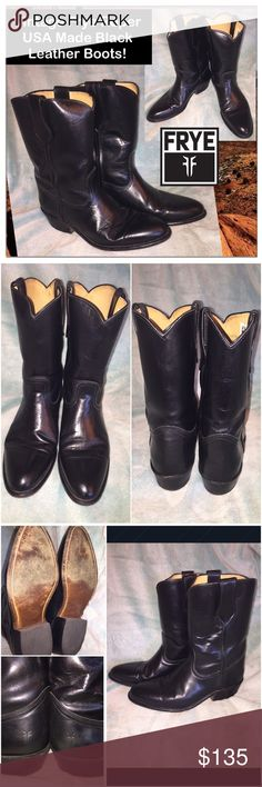 """VTG Ladies Frye Roper US Made Unisex Leather Boots Vintage Frye Roper USA Made Black Leather Boots!  FEATURES: 100% authentic, Unisex style, 80's piece, USA Made, Quality Black Leather & Construction, Soft Leather Lining, Leather Uppers, Slanted 1 3/4"""" Leather Heel w/ Rubber Cap, 8"""" shaft &  11 1/2"""" top to heel. Sz Men 10 1/2 D or Sz 12 women's. $348 Ret. FRYE label. Minor exterior marks & light heel wear. VG condition. Offers welcome! Frye Shoes"""