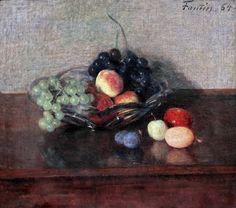 .:. Henri Fantin Latour. 1836-1904. Paris. Plat de verre, raisins, pêches et prunes. Flat glass, grapes, peaches and plums. 1864. Rotterdam. Boijmans van Beuningen.