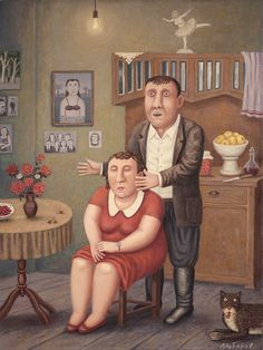 By Vladimir Lubarov Celebrity Blogs, Old Folks, Couple Art, Naive, Museum, Colours, Gallery, Illustration, Artist