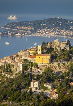 Early morning view over Eze and the Cote d'Azur, Provence, France