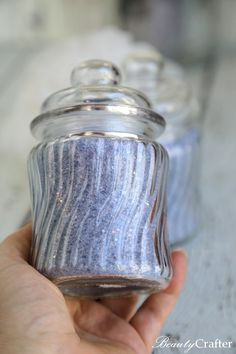 This Sparkling Lavender Bath Salts recipe is an easy DIY bath product craft to make & wonderful for gifting. The salts create a soothing therapeutic bath. No Salt Recipes, Homemade Soap Recipes, Do It Yourself Crafts, Crafts To Make, Bath Salts Recipe, Lavender Bath Salts, Bath Boms, Exfoliating Body Scrub, Blue Food Coloring