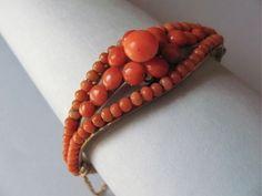 Victorian Coral Bead Bangle Bracelet