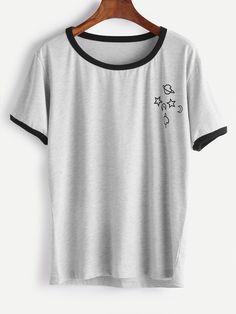 Shop Printed Contrast Trim Tee online. SheIn offers Printed Contrast Trim Tee & more to fit your fashionable needs.