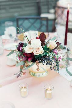 Bridal shower centerpiece with gold, pink and red
