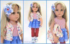 Hübsches **Outfit**, für Puppe **Hannah** oder Clara oder ähnliche Spiel -oder Künstler-Puppen in der Größe 45-50 cm. Das Set besteht aus folgenden Elementen: - kurzärmlige, melierte...