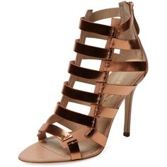 Aperlai Metallic Leather Cage Sandal (5.436.375 IDR) ❤ liked on Polyvore featuring shoes, sandals, heels, heeled sandals, metallic leather sandals, high heel platform sandals, platform shoes and high heel sandals