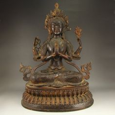 Chinese Ming Dynasty Bronze Four Arms Kwan-yin Statue