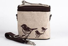 """SoYoung Brown Birds Large Cooler Bag by SoYoung. $38.00. PVC-free, phthalate-free, and lead safe.. Coated linen exterior with fully insulated lining.. Detachable long strap for wearing as messenger bag or backpack.. Dimensions (LxHxD): 5""""x8""""x8.5"""". Extra mesh back pocket.. Why should kids have all the fun? Use it as a bottle bag for baby, pack your child's drinks and snacks in it, or leave the kids at home and take your lunch with you wherever you go. Need an ext..."""