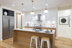 View the McDonald Jones Homes' Stoneleigh to strike that magic balance in Canberra. Scandinavian Interior, Modern Interior, Interior Styling, Interior Design, Timber House, Timber Wood, Modern Kitchens, Modern Kitchen Design, Kitchen Reno