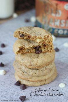 Classic soft and chewy chocolate chip cookies with a touch of coffee and cream - instant coffee powder, semisweet chocolate chip and white chocolate chips will make these cookies your favorite coffee treat!