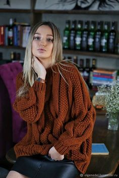 Excited to share this item from my shop: Cable knit Oversized Sweater, Chunky knitwear pullover, Toffee color knitted Sweater, Hand knit wool Sweater, Casual Autumn Cozy Sweater Thick Sweaters, Cozy Sweaters, Cable Knit Sweaters, Oversized Pullover, Chunky Knitwear, Cool Outfits, Casual Outfits, Autumn Cozy, Knitted Coat