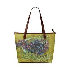 Vincent van Gogh Grapes Fine Art Painting Shoulder Tote Bag (Model 1646)