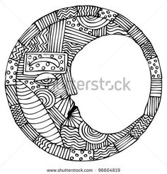 stock vector : Original black and white drawing of moon